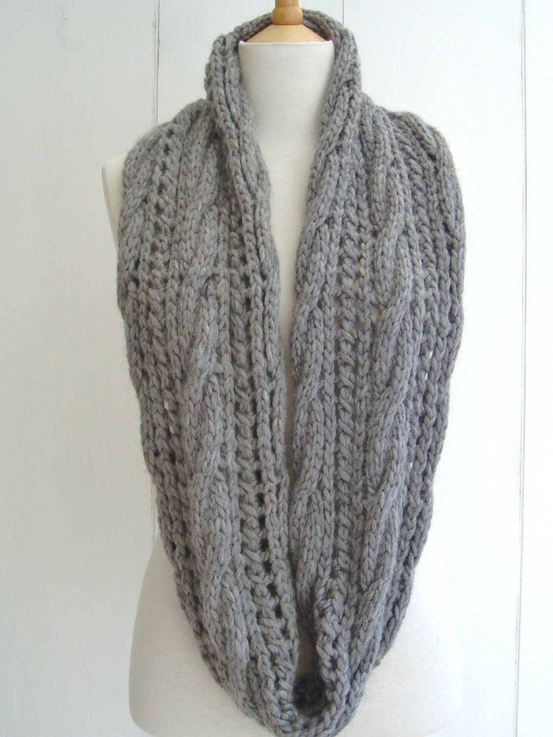 KNITTING PATTERN Infinity Scarf with Cable Lace Easy ...