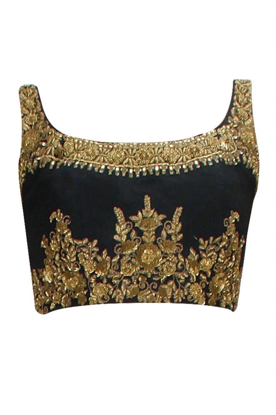 Black velvet Blouse, gold embroidery , ornate , sleeveless