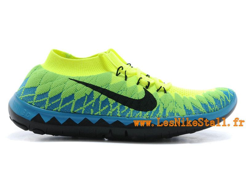 big sale 15b60 1279f Officiel Nike Free 3.0 Flyknit Chaussures Nike Running Pas Cher Pour Homme  Noir Bleu Vert 636232-ID1