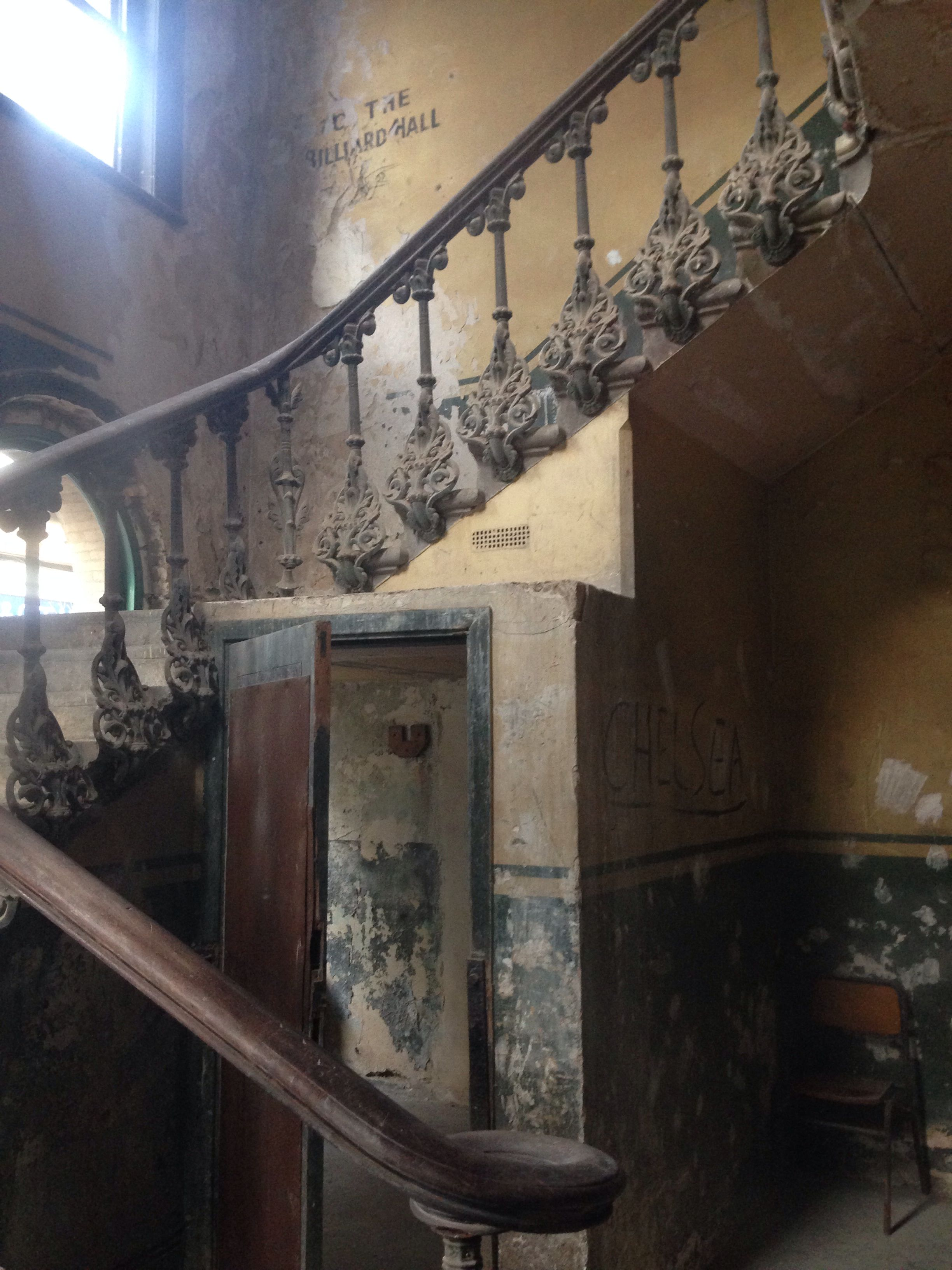 The old staircase at Peckham Rye Station. Note the old billiards hall 'sign' on the wall!