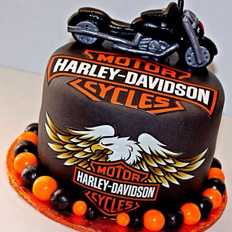 Pleasing Harley Davidson Cake I Made With Images Harley Davidson Cake Funny Birthday Cards Online Overcheapnameinfo