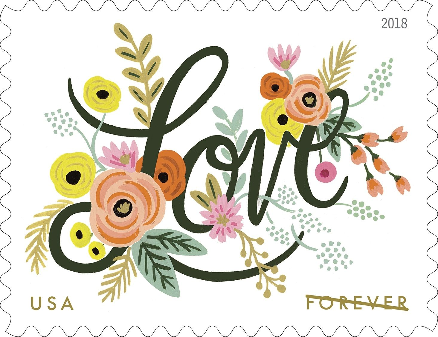 United States Post Office 1 Sheet of 20 Stamps USPS Hearts Blossom Love Forever Stamps 2019