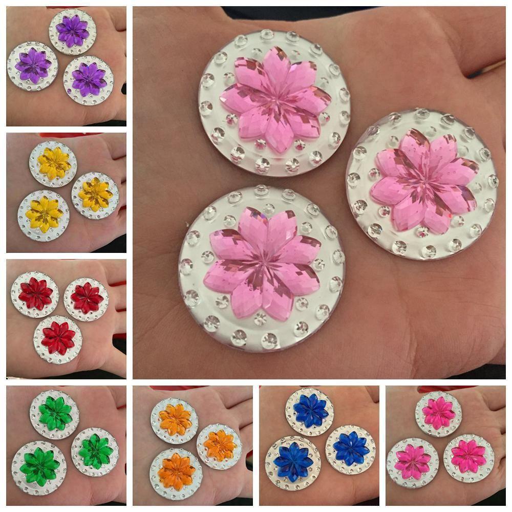 Hot DIY 5PCS 30mm Double color round flower Flatback Rhinestone ...