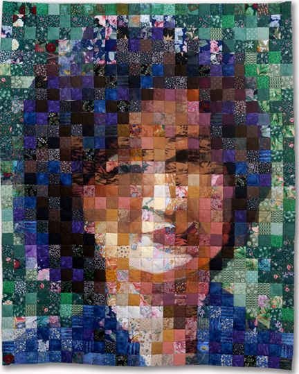 "scrap portrait quilt, Shin Hee Chin 33""X36"" 