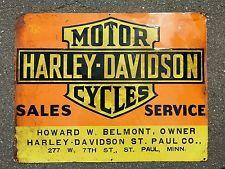 Vintage 1930 S 1940 S Harley Davidson Dealer Tin Embossed Sign Original Wow