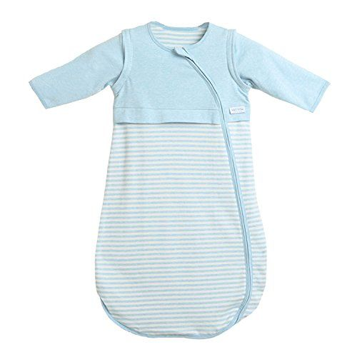 bbd01e6a72 LETTAS Baby Boys and Girls Cotton Stripe Removable Long Sleeve Sleeping Bag  - Soft Wearable Blanket Blue M (18-36 months) -  45.00