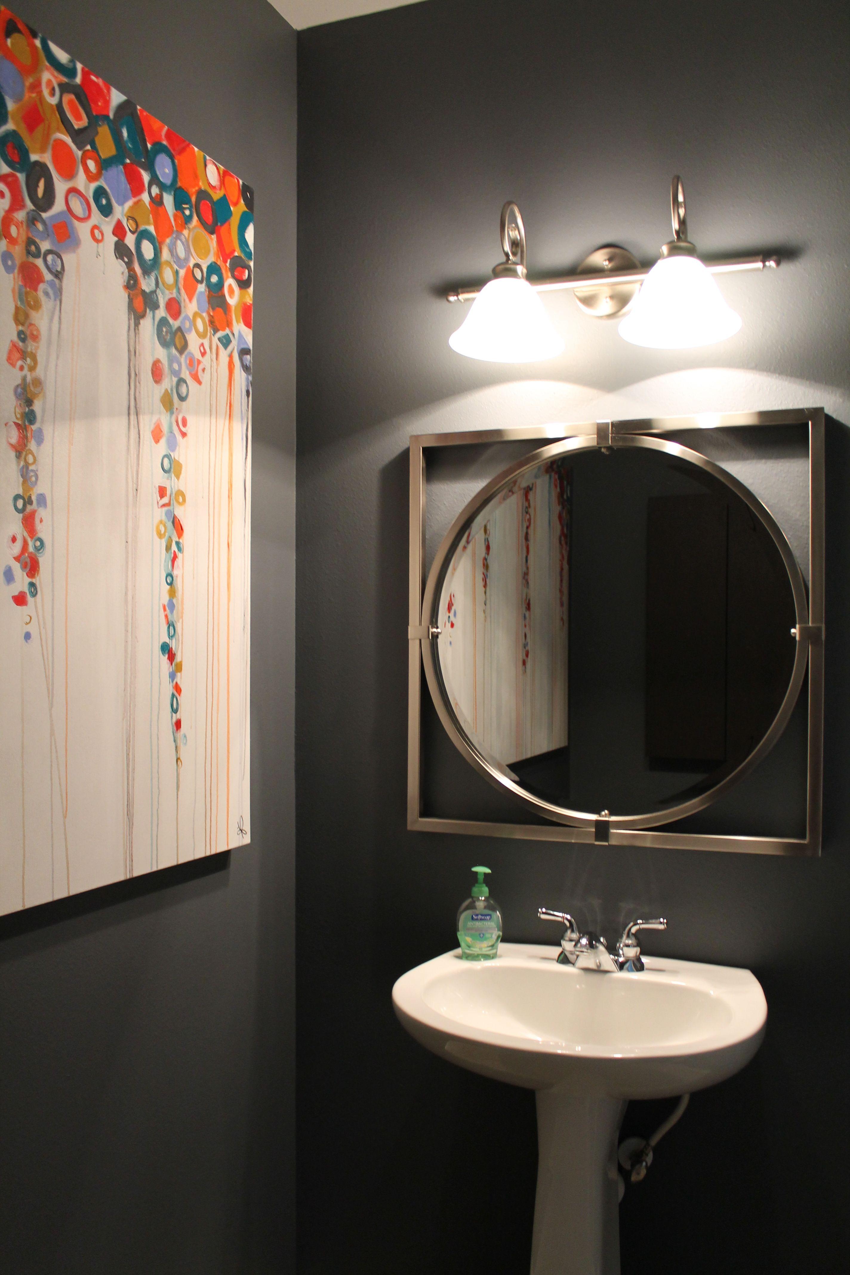 Bathroom Design Houston gray orange bathroom large art #s2d | s squared design | houston