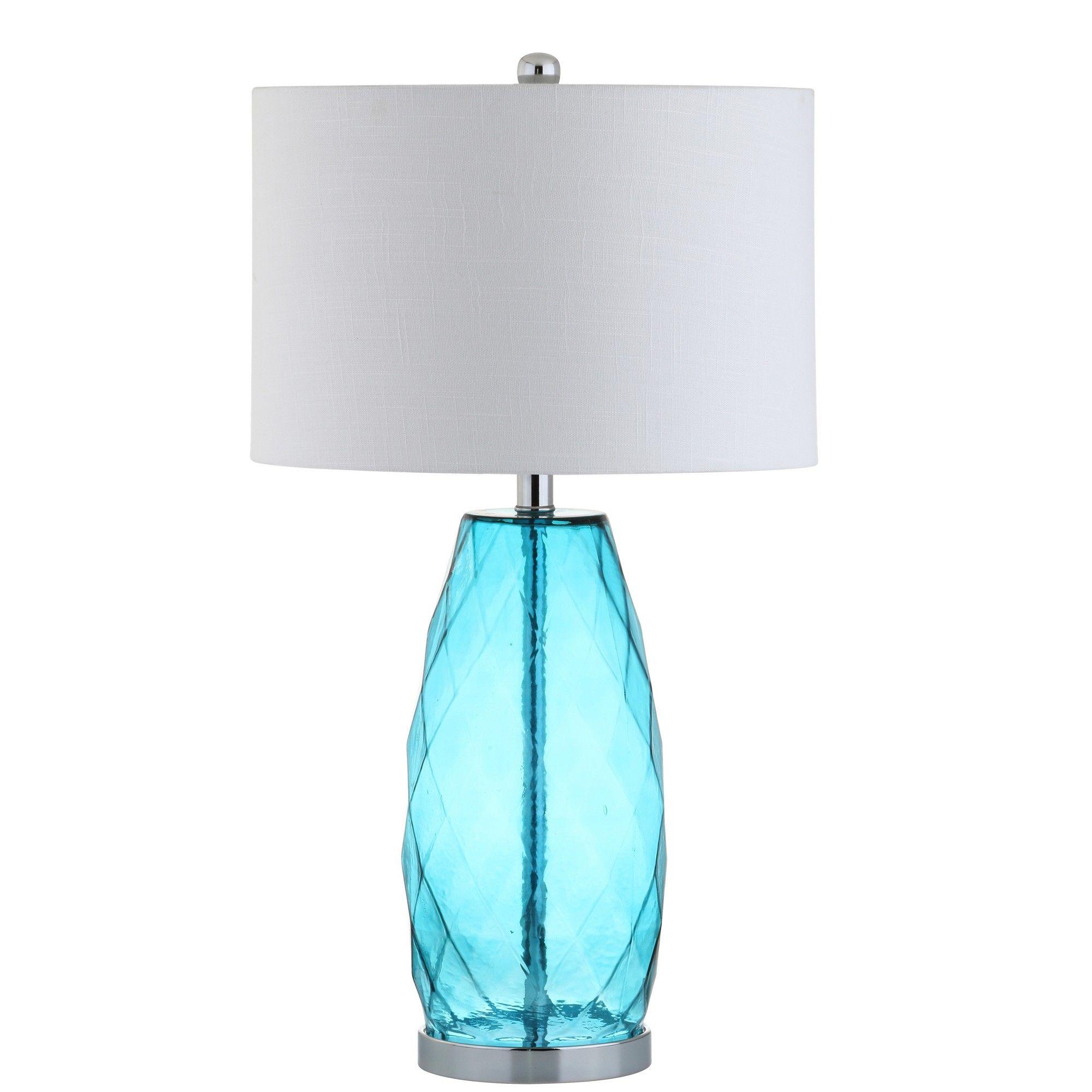 Aqua Ocean Blue Glass Table Lamp