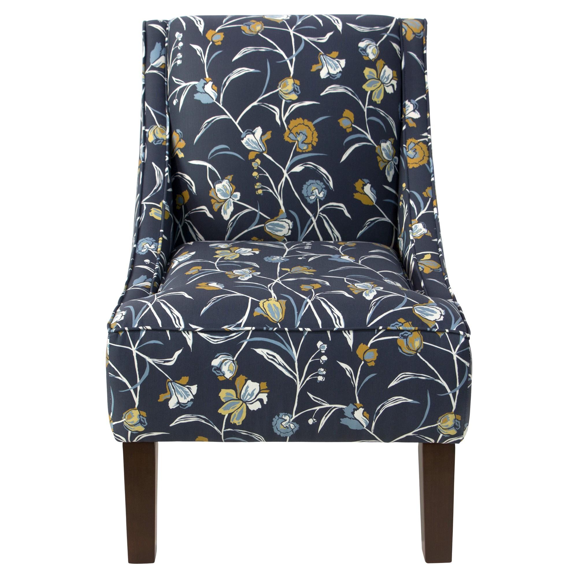 Best Hudson Swoop Arm Chair Whisp Floral Navy Ochre Skyline 400 x 300