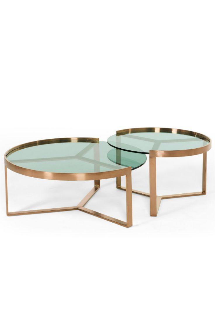 Aula 2 Er Set Beistelltische In Kupfer Und Grunem Glas Geniales Design Fur Dein Zu Hause Von Den Nesting Coffee Tables Copper Coffee Table Glass Coffee Table