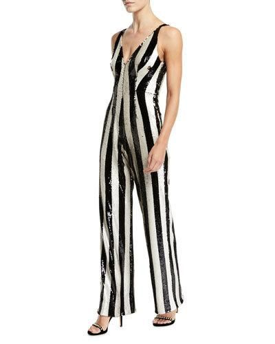 e5d44bdb2ba6 Dress The Population Bobbie Flip Sequin Stripe Jumpsuit