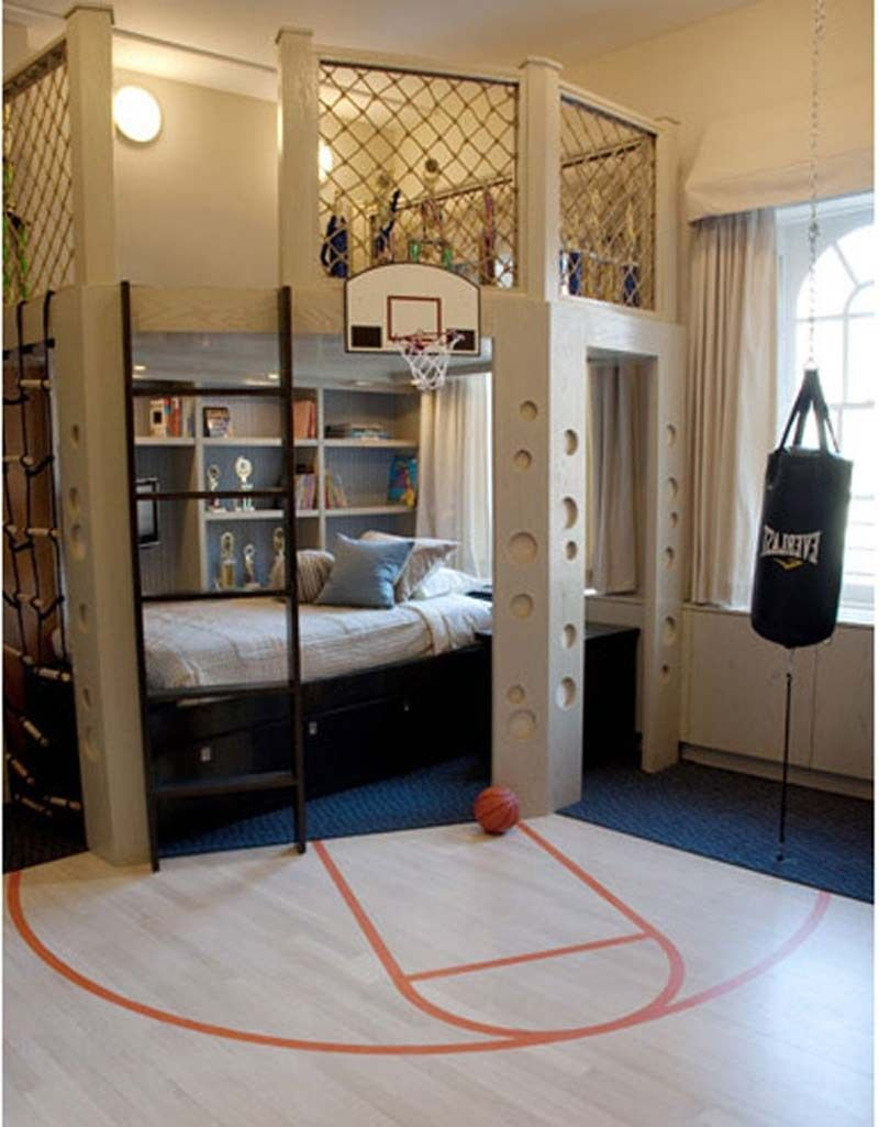 Classy Little Boy Bedroom Design Ideas. Exciting Sporty Bedroom Interior  Design With Basketball Net Decor And White Wall Mount Pendant Lamps.
