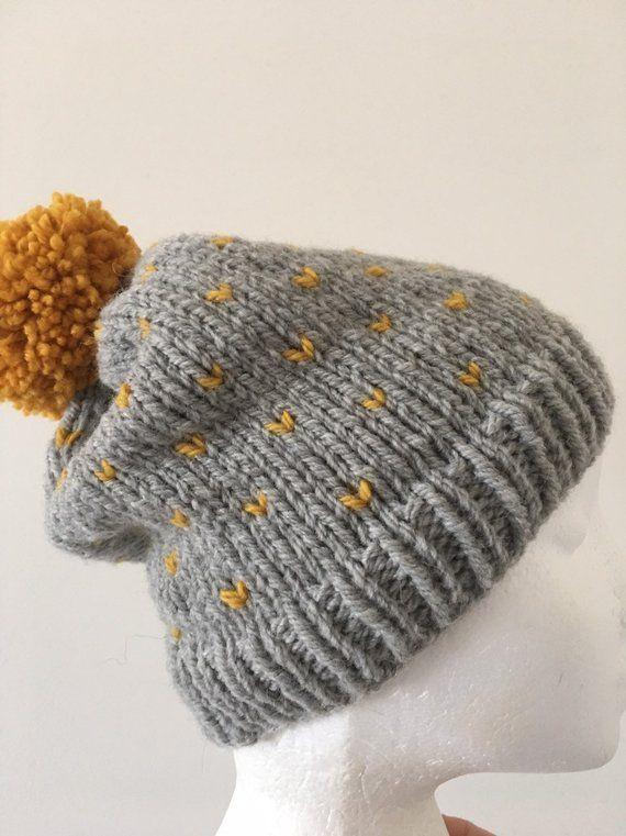 433c3146220 Knitted grey slouchy beanie grey hat mustard ladies beanie