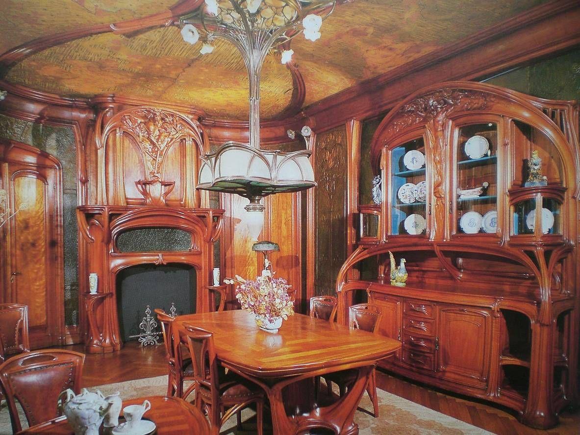 eug ne vallin salle manger en acajou et cuir repouss teint et peint 1905 mus e de l ecole. Black Bedroom Furniture Sets. Home Design Ideas