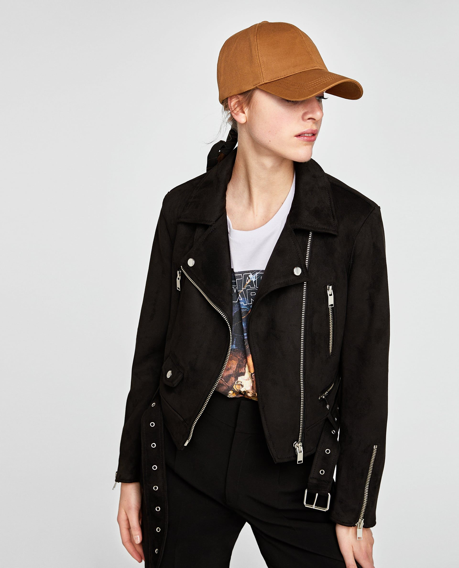 Image 4 of FAUX SUEDE BIKER JACKET from Zara Faux suede