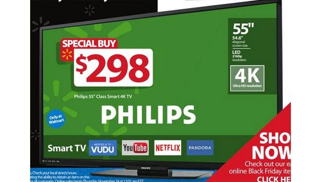 298 55 inch philips 55pfl5601 f7 4k ultra hd smart tv walmart black friday 2016 deal details. Black Bedroom Furniture Sets. Home Design Ideas