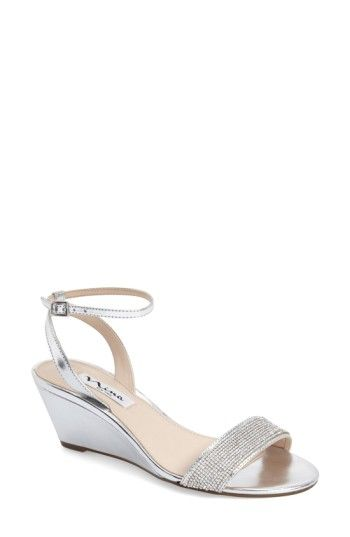 3f0e16b269bf Free shipping and returns on Nina  Novia  Embellished Wedge Sandal (Women)  at Nordstrom.com. A bejeweled toe strap catches the light on an elegant  sandal ...