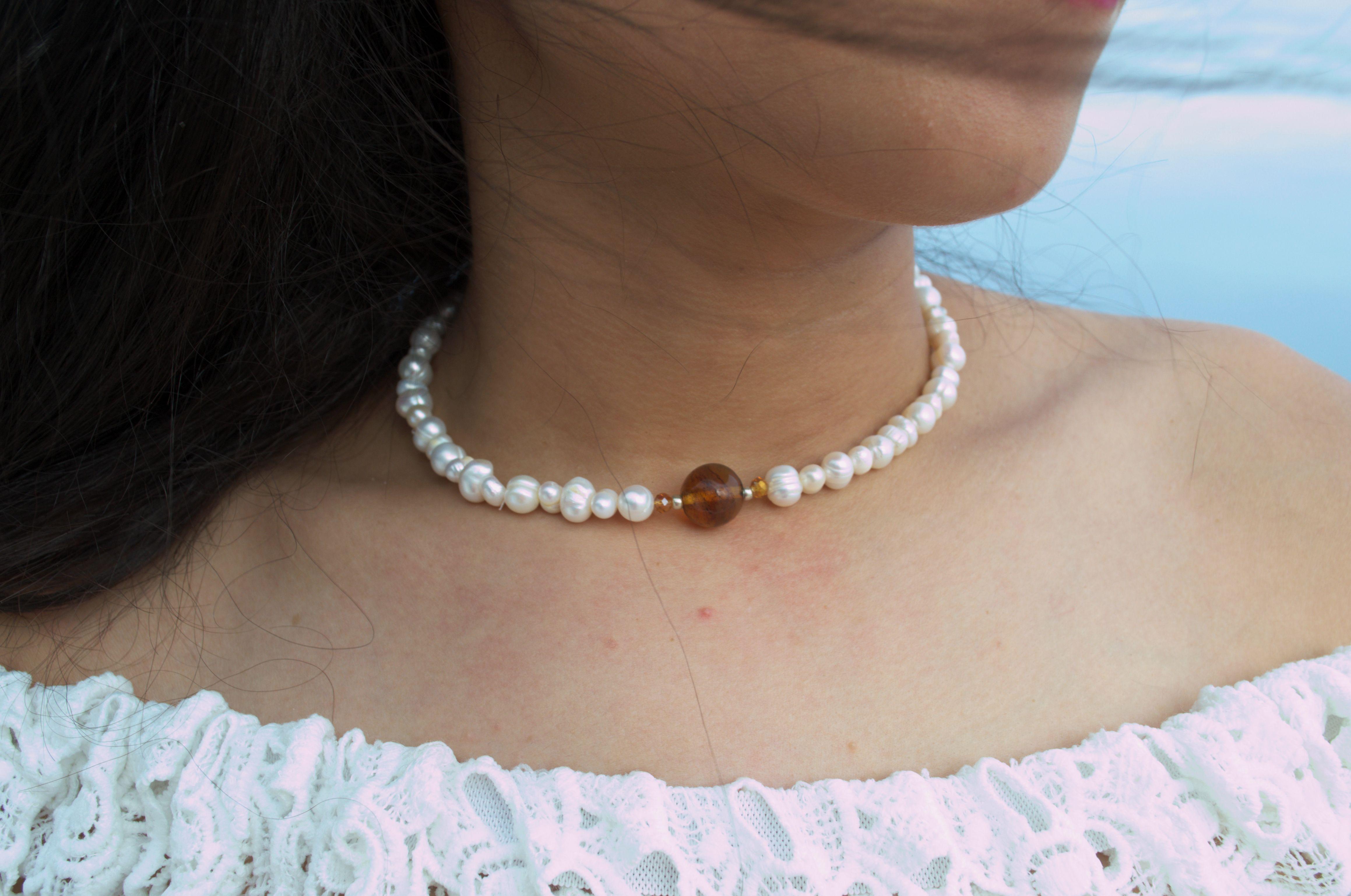 13483f33053a Collar perlas del rio y ambar