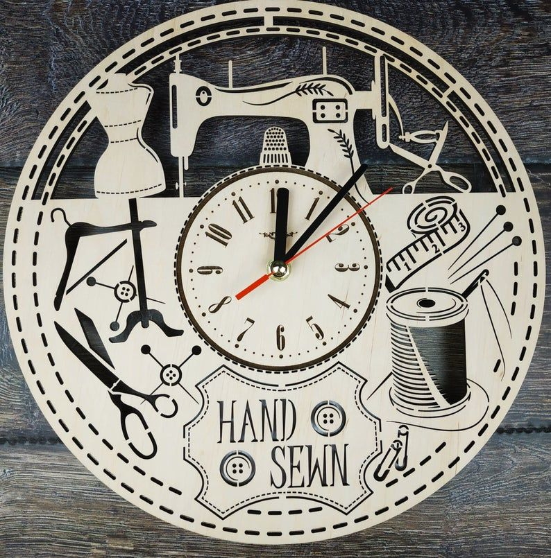 Sewing Wood Wall Clock Unique Tailor Home Office Kitchen Etsy In 2020 Wood Wall Clock Clock Wall Art Kitchen Wall Art Diy