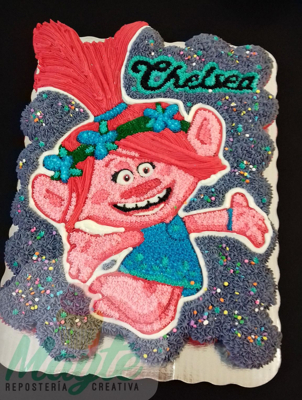 Pastel trolls princess poppy cake princess poppy cake