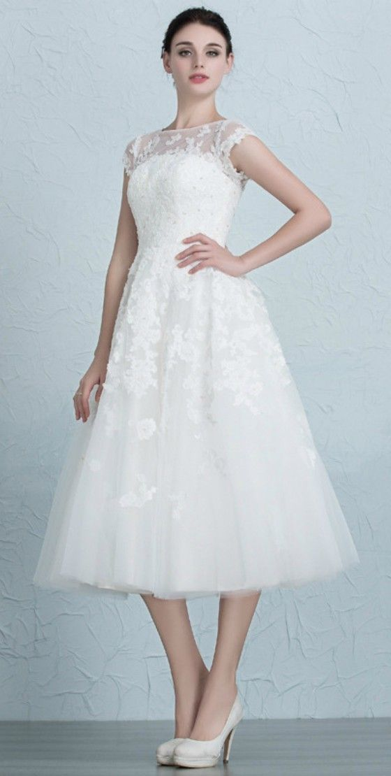 Vintage Tea Length Wedding Dresses Empire Waist Lace Tulle A-Line ...