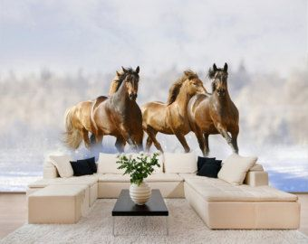 Awesome Wild Horses In Winter Wall Mural, Wall Decal, Repositionable Peel U0026 Stick  Wall Paper Part 23