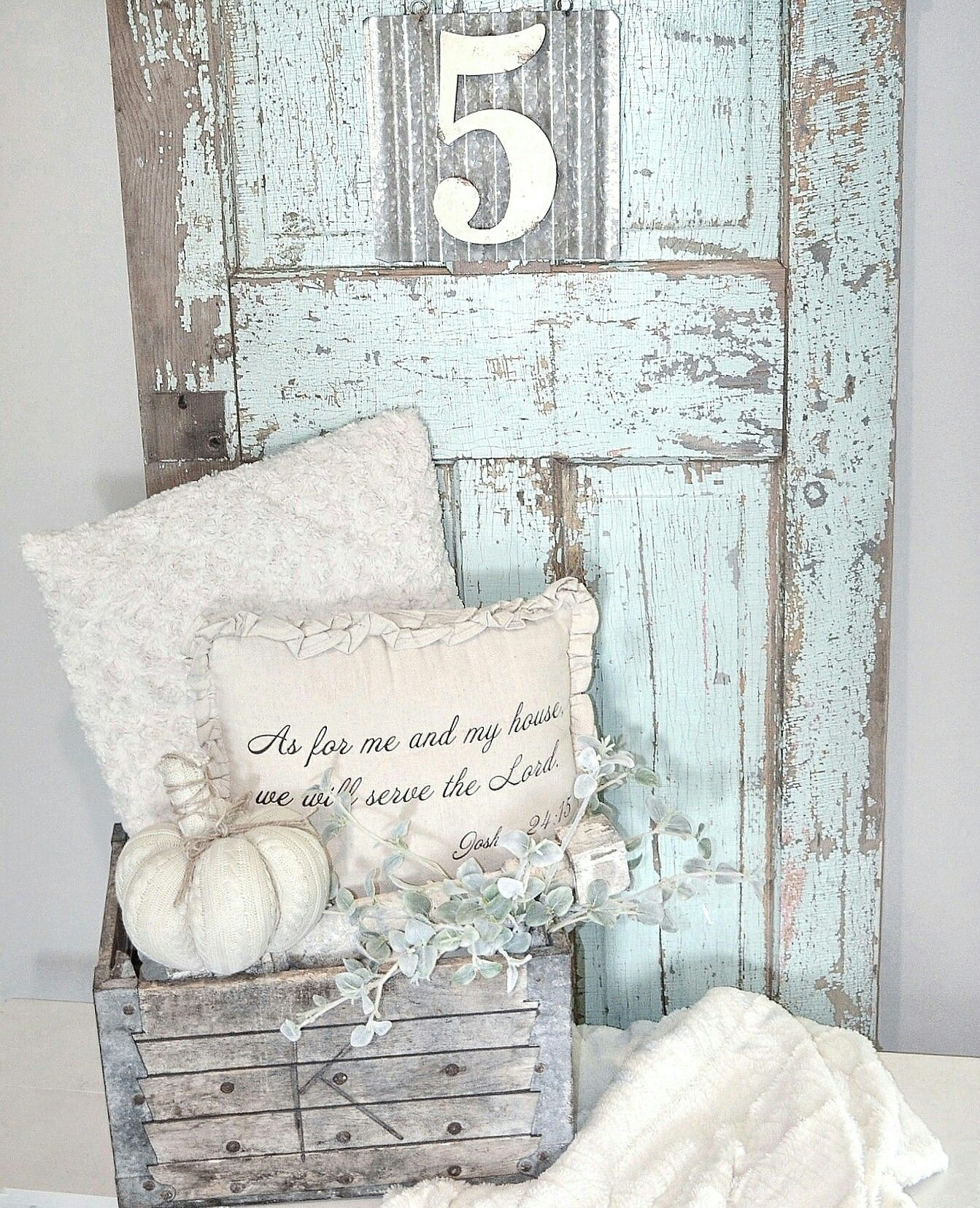 Decorating with old doors. Farmhouse decor. Vintage blue ...