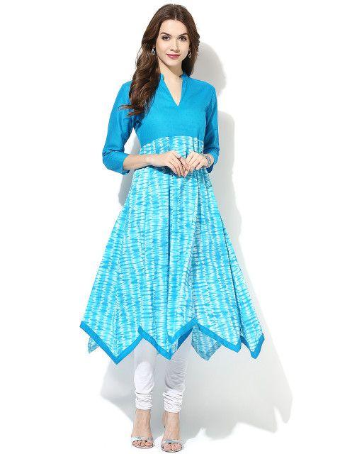 Buy AKS Women Blue Printed Anarkali Kurta - Kurtas for Women | Myntra