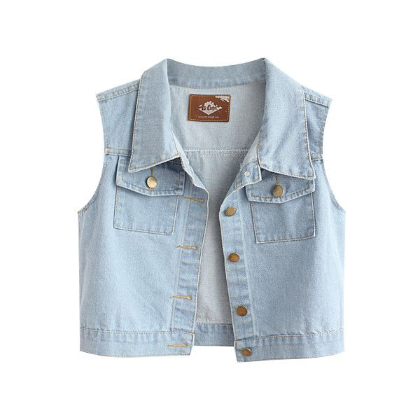 Loose Fit Denim Vest With Pockets ($29) via Polyvore