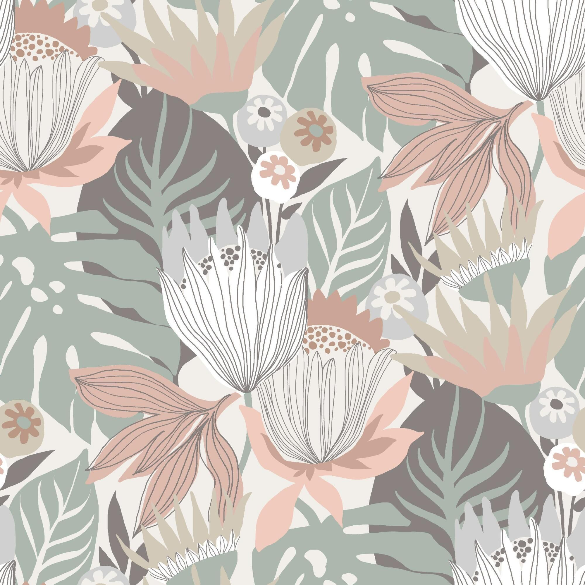 Muted Multicolor Floral Tropics Peel And Stick Wallpaper By World Market Peel And Stick Wallpaper Wallpaper Tropical Leaves