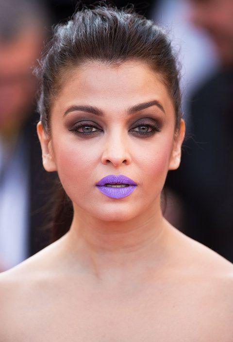 Aishwarya Rai Shocks At Cannes With Funky Purple Lipstick Purple Lipstick Beauty Face Beauty