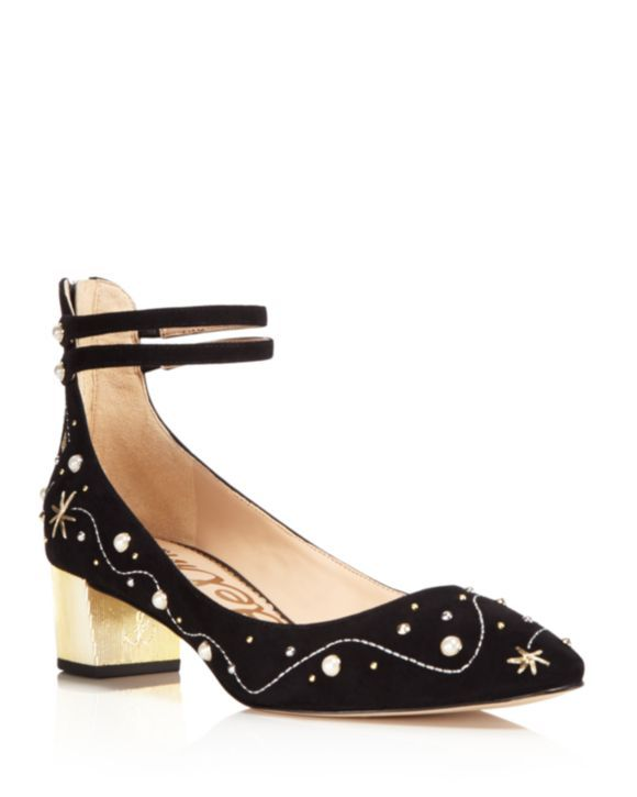 Sam Edelman Lucien Embroidered Pearl Stud Ankle Strap Pumps - 100% Exclusive vWph5Q