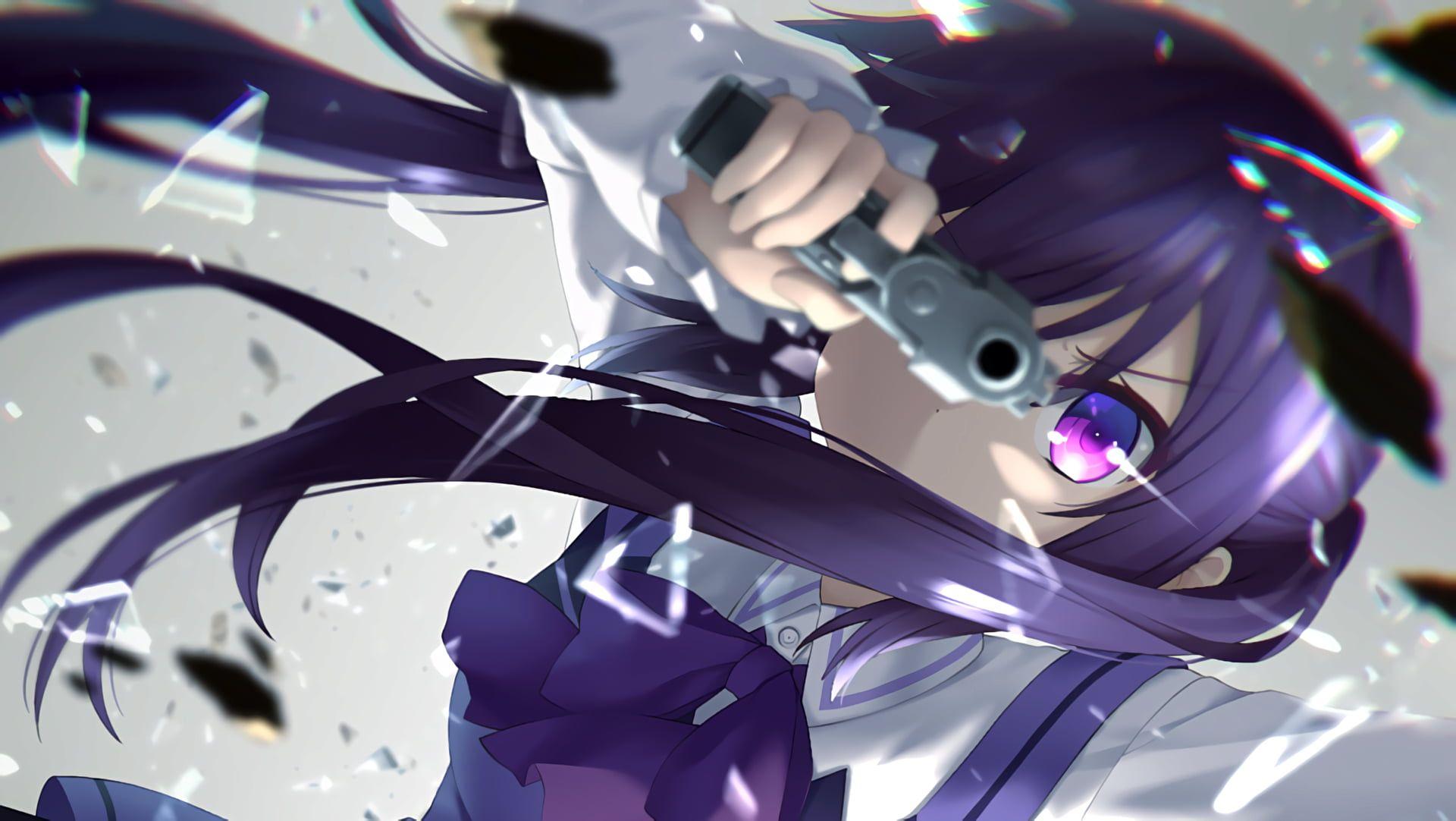 Purple Haired Female In Uniform Holding Pistol Anime Digital Wallpaper Anime Anime Girls Gochuumon Wa Usagi Desu Ka Purple Eyes Purple Hai Gambar Anime Gambar