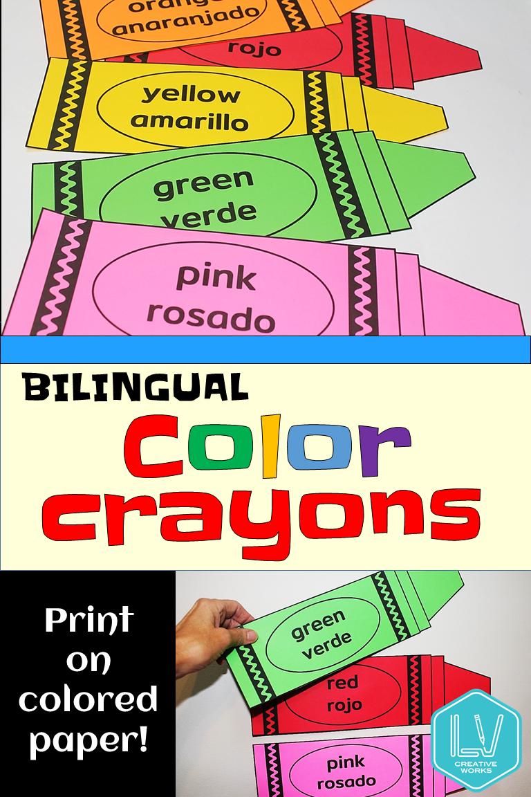 Bilingual Color Posters Crayons Preschool Primary Posters Preschool Bilingual Classroom Bilingual [ 1152 x 768 Pixel ]