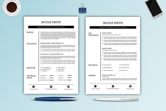 Professional Resume Template For Microsoft Word  Creative Cv