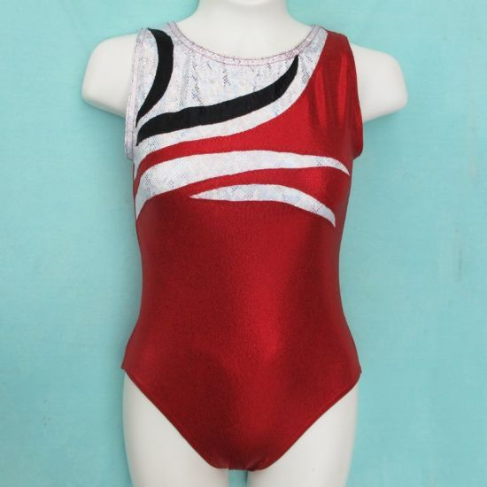 b6f43d878c88 Gymnastics Girls Leotard Childrens size 6 8 10 12 14 Red White Black ...
