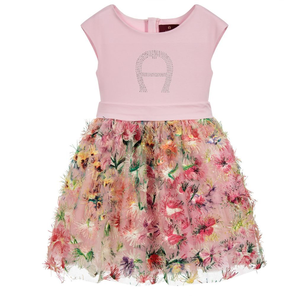 f746a8ed6 A gorgeous pink dress with a colourful skirt for girls, by Aigner Kids. The