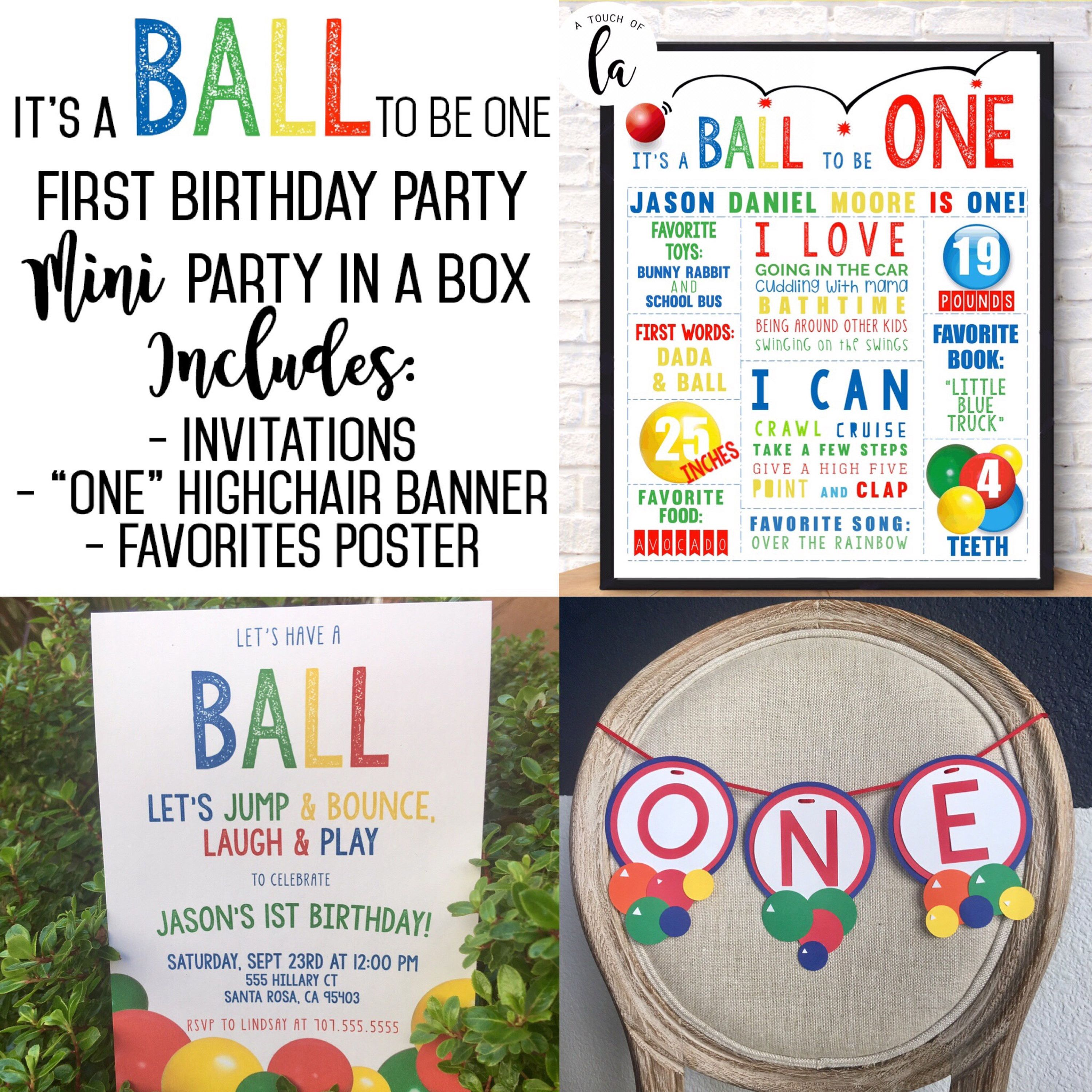 Ball First Birthday Party, Ball 1st Birthday Invitations, Ball Party ...