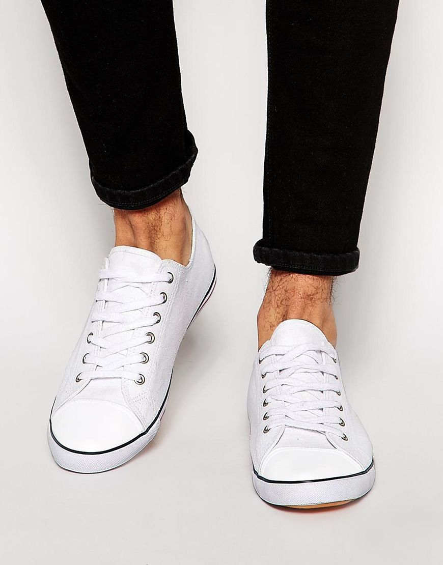 bbc6e6a3913 Plimsolls by ASOS Canvas upper Lace up fastening Tipped sole with ...