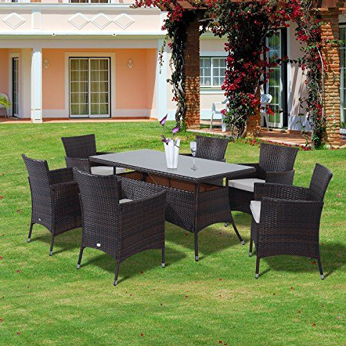 outsunny rattan garden furniture dining set patio rectangular table 6 cube chairs outdoor fire retardant sponge new garden rattan furniture