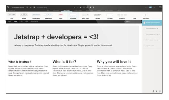 Jetstrap The Bootstrap Interface Builder Web Design Wireframe Website Software Design