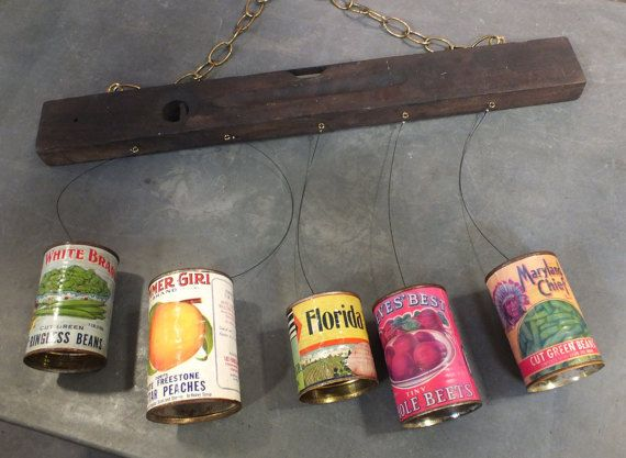 Rustic Wind Chime, Repurposed from Rusty Tin Cans, Vintage Can Labels & Vintage Wooden Level/ Tool.