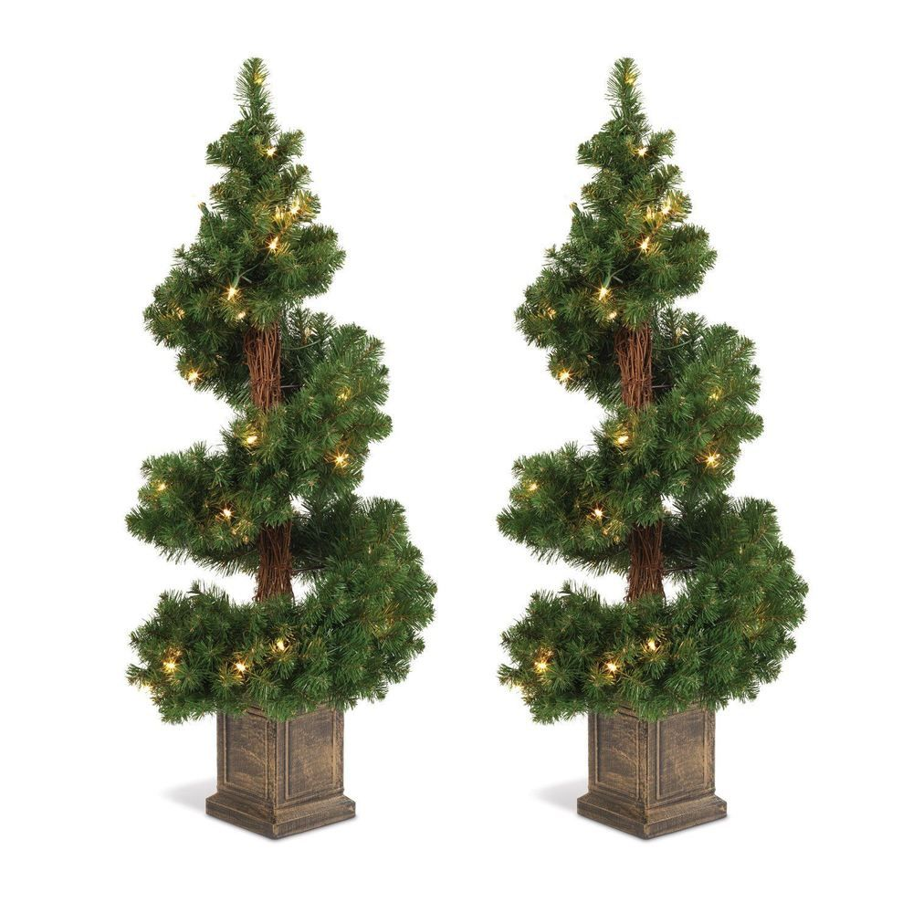 Potted Christmas Trees For Sale: Set Of 2 Lighted Topiary Trees In Square Bases. Each Tree