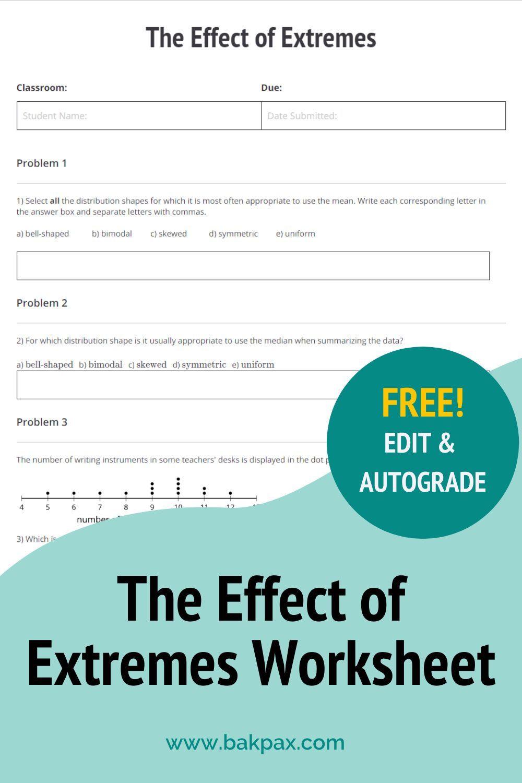 Free Effect Of Extremes Algebra Worksheet Algebra Worksheets Free Algebra Algebra