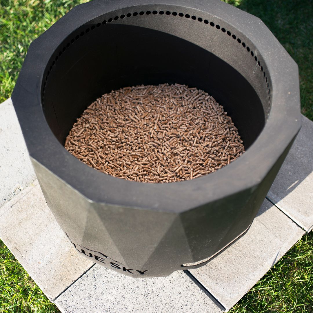 Fill Your Blue Sky Fire Pit 2 In Deep With Wood Pellets Burning Wood Pellets Produces Less Smoke Ash And Odor We Fire Pit Backyard Bonfire Wood Pellets