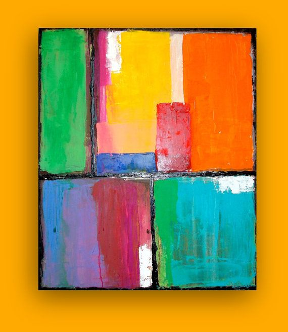 Bright And Colorful Original Abstract Art By Orabirenbaumart 325 00 Bright Abstract Art Abstract Abstract Art Painting