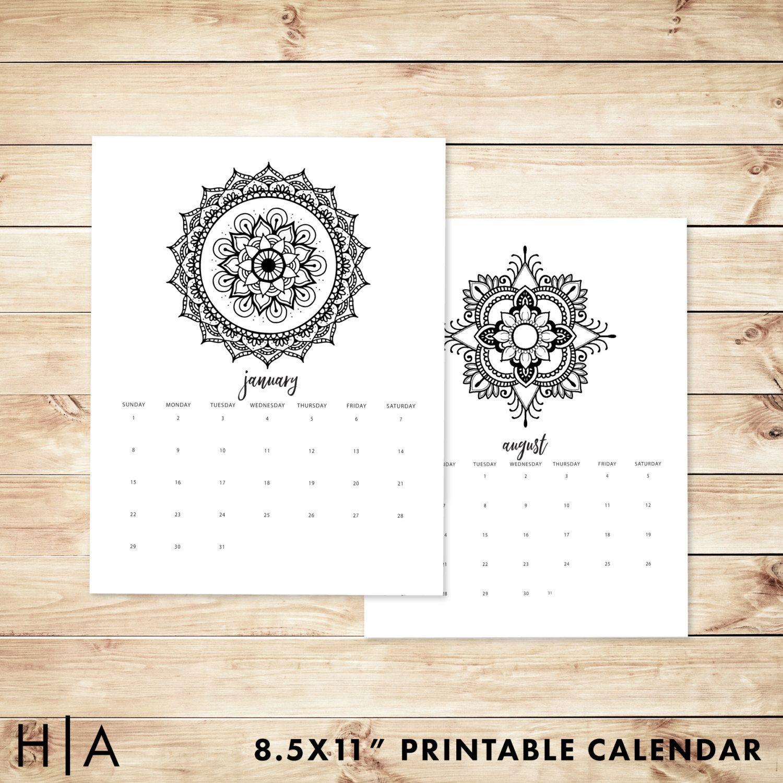 2017 Mandala Coloring Book Printable Calendar, 8.5x11, Wall calendar ...