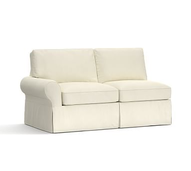 PB Basic Slipcovered Left-arm Loveseat, Down Blend Wrapped Cushions, Premium Performance Basketweave Ivory