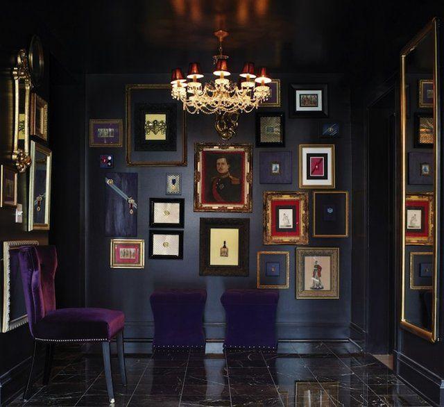 Purple Velvet Chair Eclectic Entrance Foyer York