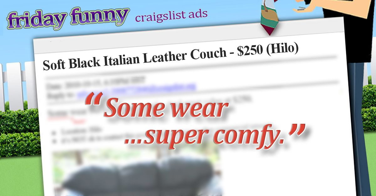 Craigslist Okc Garage Sales >> Funny Craigslist Ads Leather Couch Some Wear Funny